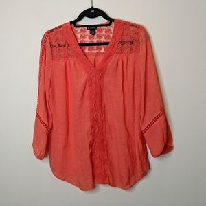 New Directions Long Sleeve Blouse With Lace Detail